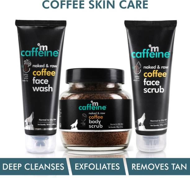 MCaffeine Complete Coffee Skin Care Combo Face wash , Body scrub , Face scrub | Exfoliation, Tan Removal, Deep Cleanse | Oily/Normal Skin | Paraben & SLS Free