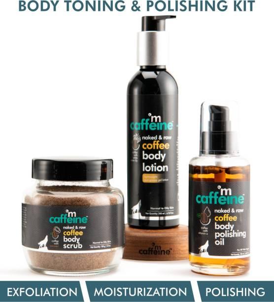 MCaffeine Coffee Body Toning & Polishing Kit | Nourishing, Tan Removal, Moisturization | Body Oil, Body Scrub, Body Lotion | Paraben & Mineral Oil Free