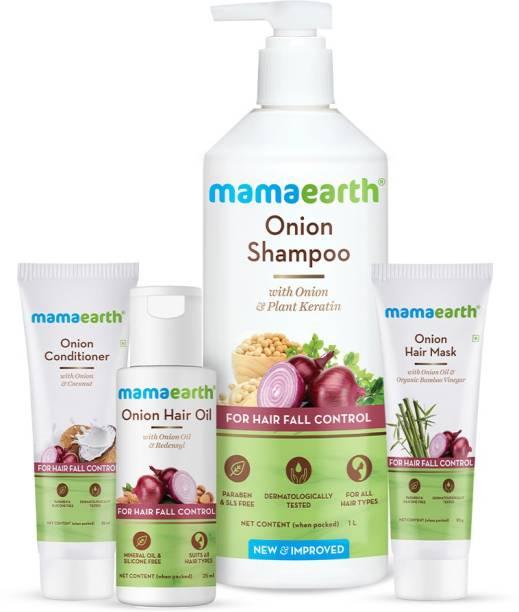 MamaEarth Onion Anti Hair Fall Combo Onion Hair Oil (25 ml) + Onion Hair Mask (25 g) + Onion Shampoo (1 litre) + Onion Conditioner (25 ml)