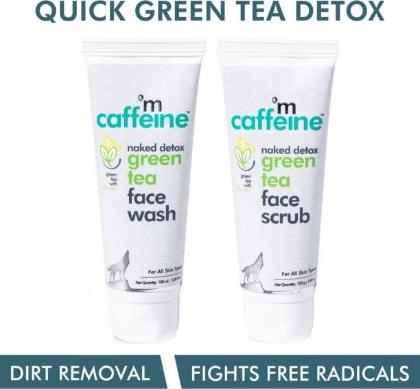 MCaffeine Quick Green Tea Detox Kit | Dirt Removal, Exfoliation | Vitamin C | Face Wash, Face Scrub | Paraben & SLS Free