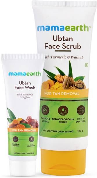 MamaEarth Ubtan Tan Removal Combo Ubtan Face Scrub (100g ) + Ubtan Face Wash (25 ml)