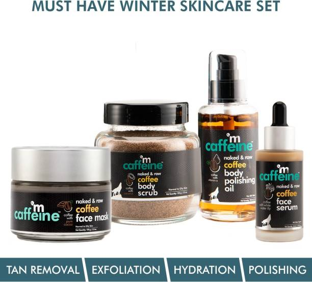 MCaffeine Must-Have Coffee Winter Skincare Set | Exfoliates, Moisturizes, Hydrates | Face Mask, Body Scrub, Body Oil, Face Serum