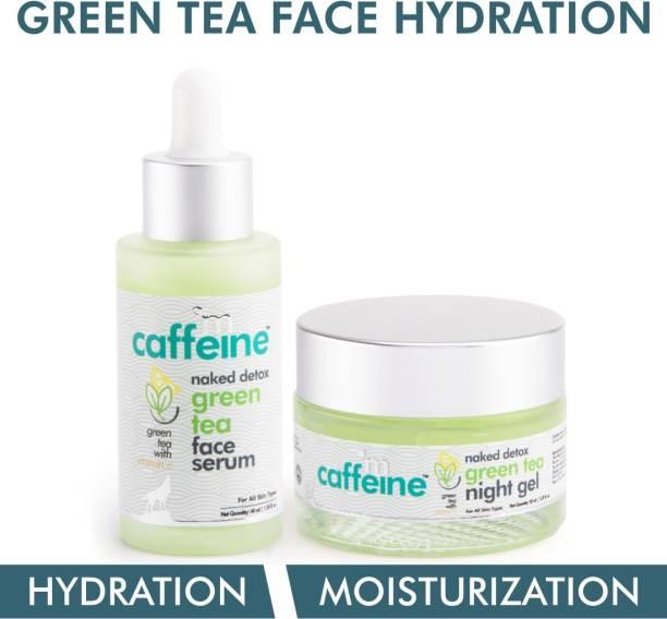 MCaffeine Green Tea Face Hydration Kit for Dull Skin   Face Serum, Night Gel   All Skin   Paraben & Mineral Oil Free