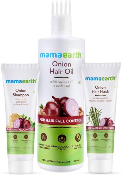 MamaEarth No More Hair Fall Kit Onion Hair Oil (250 ml) + Onion Hair Mask (25 g) + Onion Shampoo (25 ml)