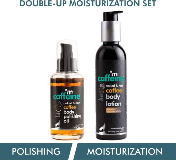 MCaffeine Coffee Double-up Moisturization Set   Pre & Post Shower   Nourishes   Body Oil, Body Lotion   Paraben & Mineral Oil Free