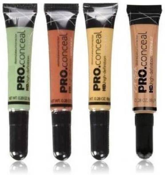 FUFA Hd LA pro Conceal orange ,Green,Yellow , Beige (4pcs) Concaler (Orange,Yellow,Biege,Green, 32 g CONCEALER) Concealer