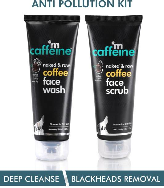 MCaffeine Coffee Anti Pollution Kit   Deep Cleanse, Blackheads Removal   Face Wash , Face Scrub   Oily/Normal Skin   Paraben & SLS Free