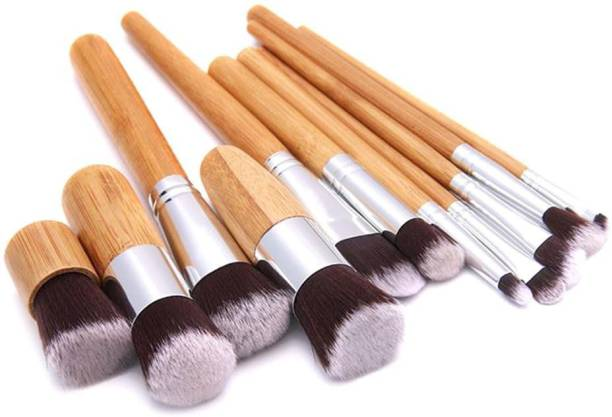 FOOLZY Makeup Kit, Makeup Brushes Set – 11 Pc Wooden Handle Cosmetic Foundation Makeup kit Blending Brushes for Powder and Cream – Bronzer Concealer Contour Brush with Travel Pouch