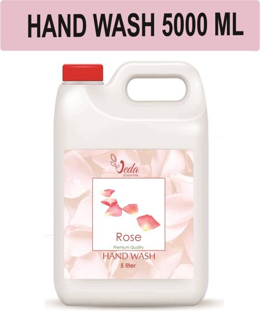 Veda Rose Ph balanced Handwash Liquid - 5 Litre refill can,For Soft and Moisturizing hand with extra glycerin and rose water Hand Wash Can