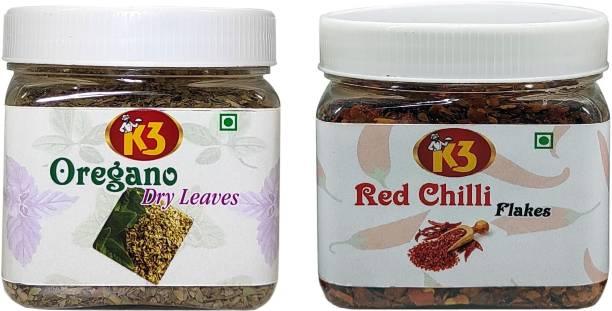 K3 Masala Oregano (100g),Red Chilli Flex (100g) (Pack of 2)