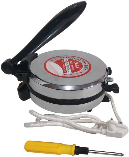 Elvin 1000w Durable Silver Color Electric Shock Proof Machine Non-Stick Surface Chapati Maker for Home and Kitchen Multi-Utilities Roti/Khakhra Maker