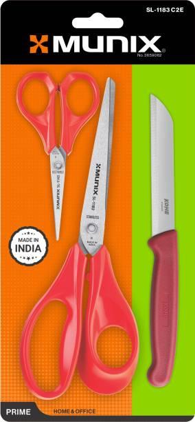 munix SL-1183 Combo Pack with 2 scissor & 1 Knife_Red Scissors