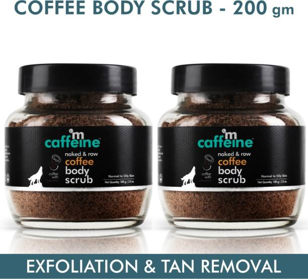 MCaffeine Naked & Raw Coffee Body Scrub, Pack of 2 | Exfoliation, Tan Removal | Oily/Normal Skin | Paraben & SLS Free Scrub