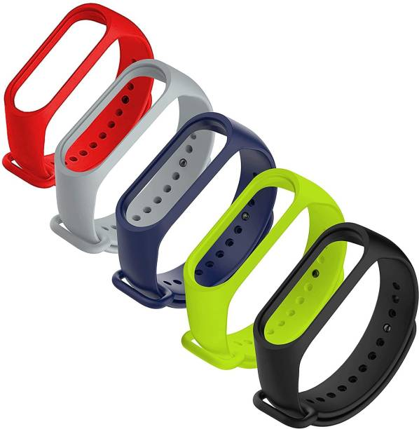 Jape Combo pack 5 of Silicone Straps for models Xiaomi Mi Band 4 and Mi Band 3, ( Black + Blue colors )(Device not included) Smart Band Strap (Mullti Color) Smart Band Strap