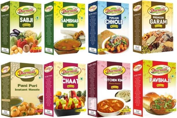 Dharmasut Premium Garam Masala + Kitchen King Paneer Masala + Pavbhaji Masala + Punjabi Chole Masala + Sabji Masala + Chaat Masala + Sambhar Masala + Panipuri Masala Pack of 8 (400gm)