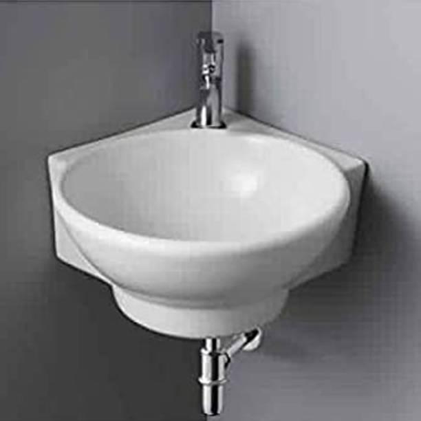 Sanito Ceramic White Wall Hung & Wall Corner Wash Basin | 16.3 x 13.8 x 4.3 Inch | BATHERO Wall Hung Basin