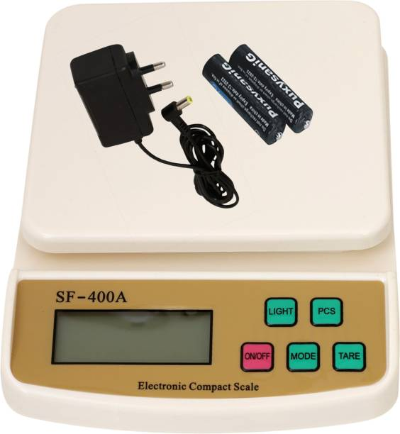 CHHOKRA Electronic Digital 1Gram-10 Kg Weight Scale LCD Kitchen Weight Scale Machine Measure for measuring Vajan, Offer, Kata, Weight Machine Weighing Scale, Fruits, Shop, Food, Vegetable, for Grocery, Kata, Taraju, Shop, Computer Kata, Tarazu, Jewellery, Sabzi, Weighing scale (White) (Adaptor Included) Weighing Scale (White) Weighing Scale