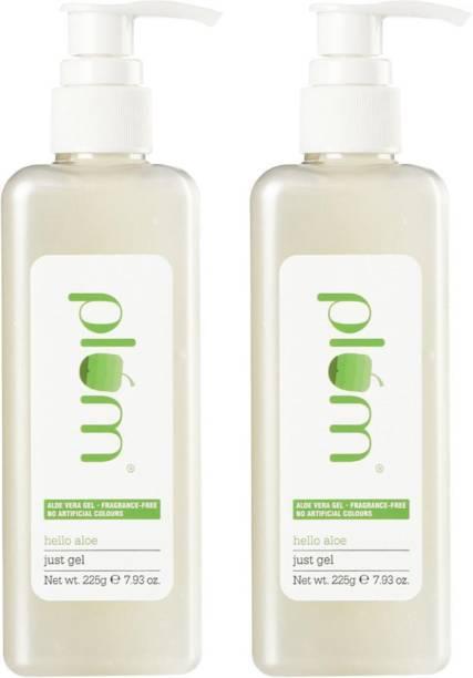 Plum Hello Aloe Just Gel Pump Pack Duo | All Skin & Hair Types | 99% Natural Aloe Vera Gel (2 items in this set)