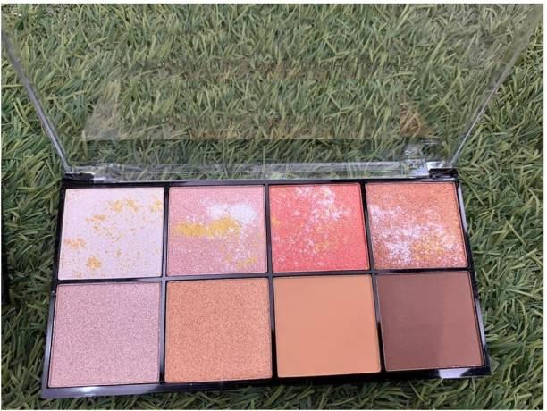 GULGLOW99 makeup shimmery shiny smudge proof 8 color highlighter & bronzer palette