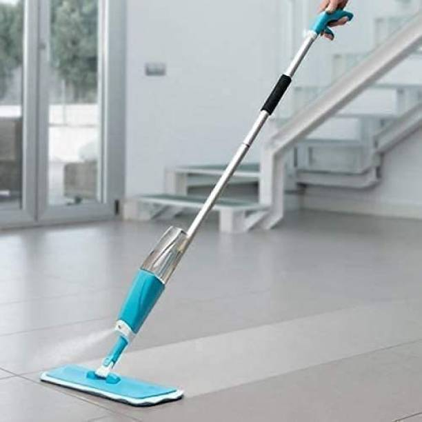 Prab Microfiber Steel Floor Cleaning Exclusive Design Spray Mop With Integrated Bottle all Surface Floor Tile Cleaner Wet & Dry Mop with Dust Cleaning Brush for Window Frame, Sliding Window Track, Laptop Keyboard, Car Air Vents with Dust Pan Plastic Dry Brush Plastic Wet and Dry Brush Plastic Wet and Dry Brush (Black, White) Mop, Cleaning Brush Floor Wiper