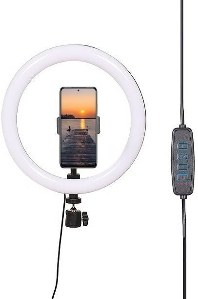 Alchiko Good Quality High Brightness 10 Inch LED Ring Light with Phone Holder Dimmable Makeup Light with 3 Light Mode, 10 Level Brightness for Make-up/Video Shooting/Vlogging 2500 lx Camera LED Light