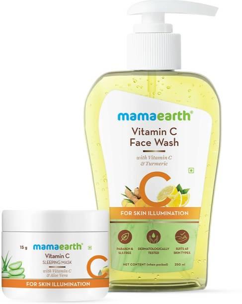 MamaEarth Vitamin C Glowing Skin Combo Vitamin C Face Wash (250 ml) + Vitamin C Sleeping Face Mask (25 g)