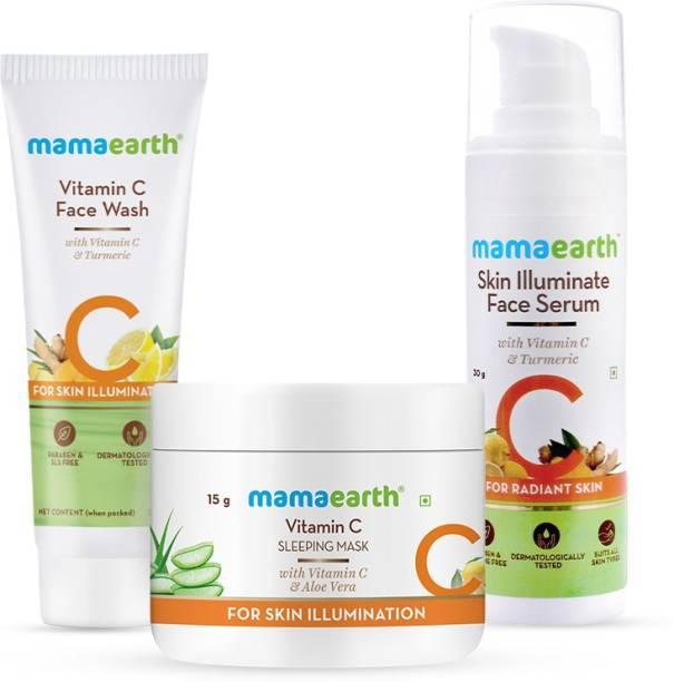 MamaEarth Vitamin C Night Regimen Combo Vitamin C Sleeping Face Mask (15 g) + Vitamin C Face Wash (25 ml) + Skin Illuminate Face Serum (30 ml)