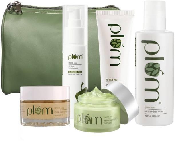 Plum Green Tea Super Saver Combo | Daily Use Kit For Oily Skin | 100% Vegan | Fern Green Bag