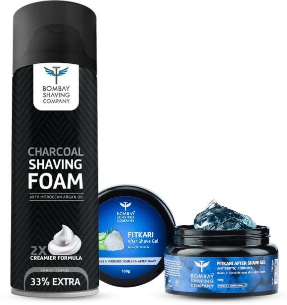 BOMBAY SHAVING COMPANY Mini Shaving Essential Kit for Men with After Shave Fitkari Gel 100g, Charcoal Shaving Foam 266g