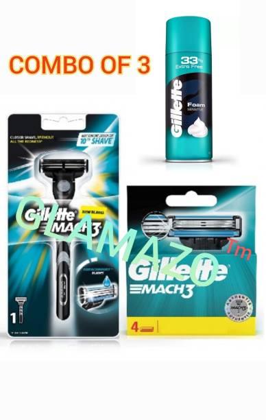 GILLETTE Mach 3 Shaving Razor + 5 Catridge + Shaving Foam (Super Saver Combo Pack)