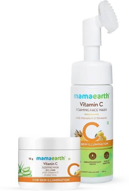 MamaEarth Vitamin C Glowing Skin Combo Vitamin C Foaming Face Wash (150 ml) + Vitamin C Sleeping Face Mask (25 g)