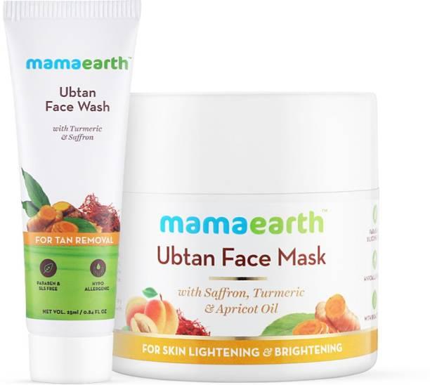 MamaEarth Ubtan Skin Brightening Combo Ubtan Face Wash (25 ml) + Ubtan Face Mask (100 g)