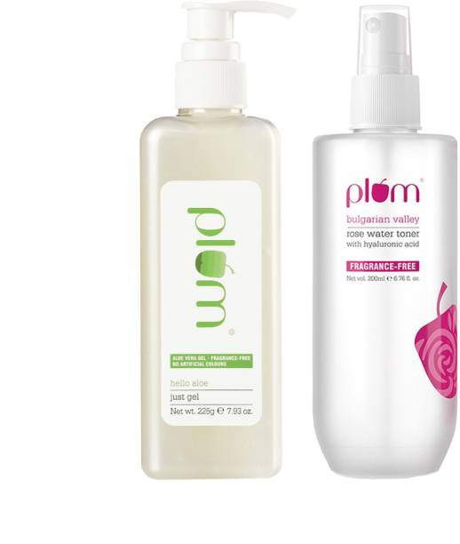 Plum Intense Hydration Duo | Aloe Vera Just Gel Pump Pack | For All Skin & Hair Types | Rose Water Toner with Hyaluronic Acid | 100% Vegan, Cruelty Free (2 items in this set)