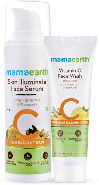 MamaEarth Vitamin C Radiance Combo Vitamin C Face Wash (25 ml) + Skin Illuminate Face Serum (30 ml)