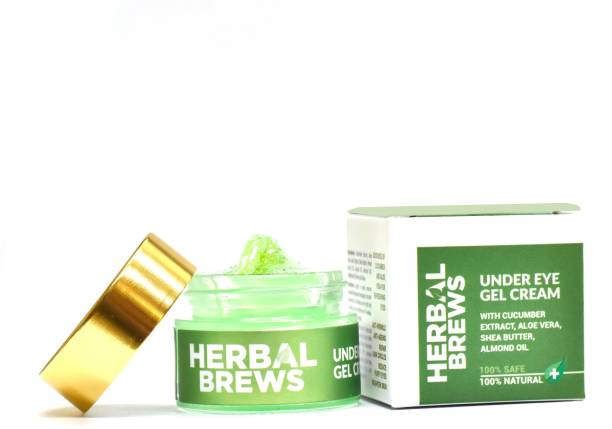 Herbal Brews Under Eye Cream for Dark Circles for Women & Men- 100% AYURVEDIC ORGANIC Gel Cream with Cucumber, Aloe Vera, Jojoba Oil, Honey & Natural Ingredients- Reduce Dark Circles, Puffy Eyes, Wrinkles & Finelines- 20g