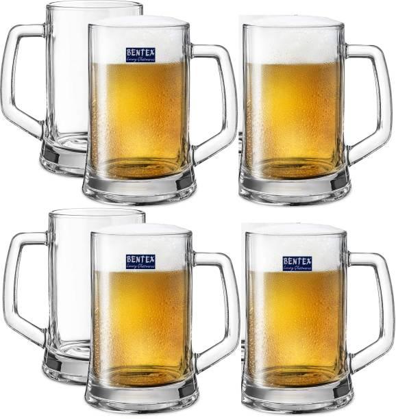 BENTEX LUXURY GLASSWARES (Pack of 6) Heavy Base Classic Big size Beer mug for gift Glass Set