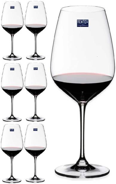 BENTEX LUXURY GLASSWARES (Pack of 6) 100% Crystal Wine Glass, Glasses For Drinking Wine Glass Set