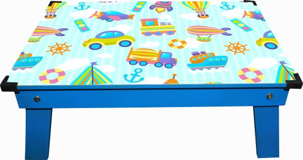 Enigmatic Woodworks Wooden multi-function portable and foldable bed table. Best Suitable study table for Kids. Durable bed cum study table with smooth finish ( Kids Pattern Theme in Blue Color) Engineered Wood Study Table