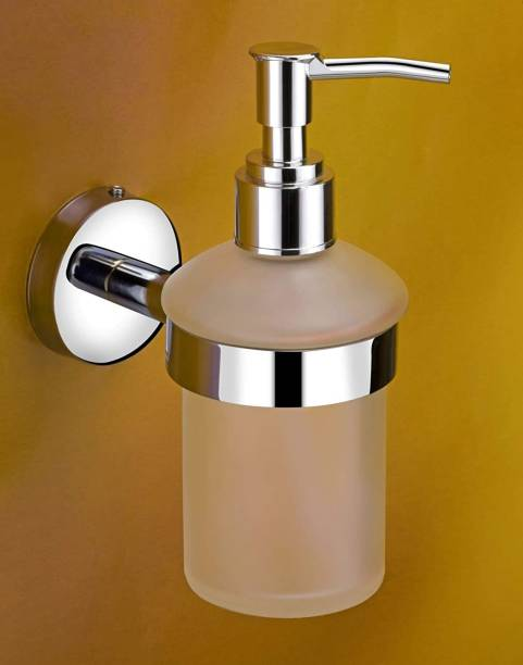 SWAYAM ENTERPRISE Stainless Steel Stand and Glass Liquid Soap Dispenser for Bathroom and Wash Basin Hand wash Dispenser Bathroom Accessories (Chrome Finish, Anti Rust) 50 ml Liquid Dispenser