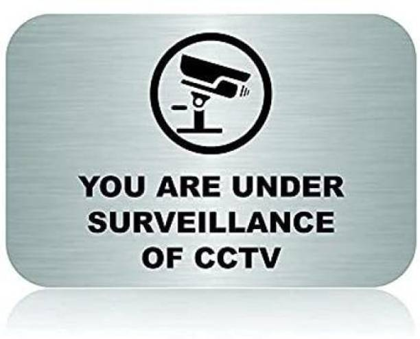 """jv Stainless Steel Self Adhesive CCTV Signage Board for Office (4"""" x 6"""" inch) Name Plate"""