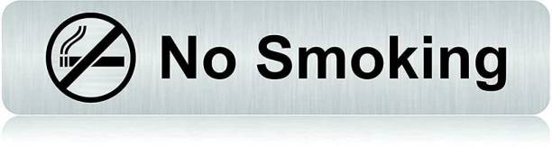 """jv Stainless Steel Self Adhesive """"No Smoking with Logo"""" Signage Board for Office (12"""" x 2.5"""" inch) Name Plate"""