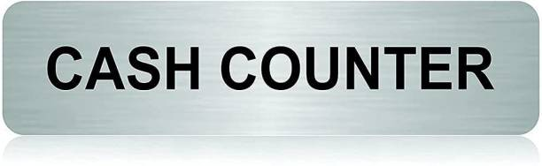 """jv Stainless Steel Self Adhesive """"Cash Counter"""" Signage Board for Office (10"""" x 2.5"""" inch) Name Plate"""