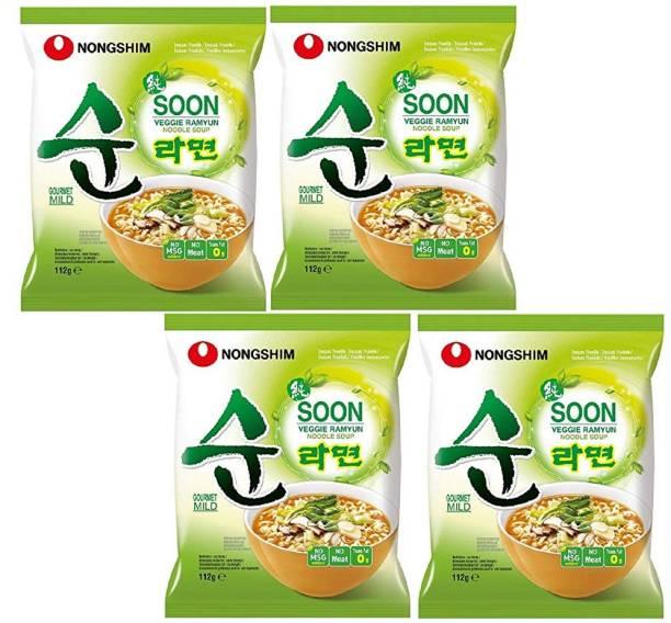 Nongshim Soon Veggie Ramyun Korean Style Instant Noodles 112gm*2(Pack Of 4) Instant Noodles Vegetarian