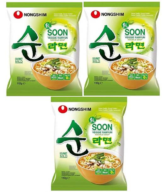 Nongshim Soon Veggie Ramyun Korean Style Instant Noodles 112gm*2(Pack Of 3) Instant Noodles Vegetarian