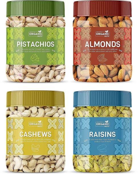 GreenFinity Organic Nuts Dry Fruits Combo Pack | 250g Each Almonds, Cashews, Pistachios, Raisins