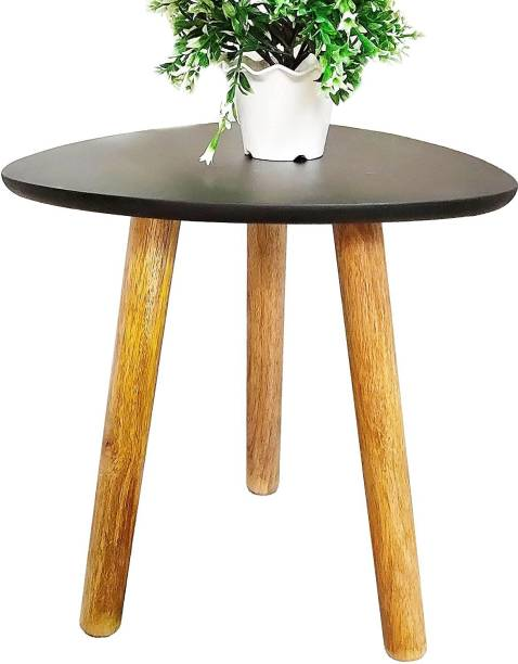 GLORIEUX ART Triangle End, Coffee Table Modern Minimalist Side Table for Living Room, Balcony and for Tea and Coffee Serve (Black) Solid Wood End Table