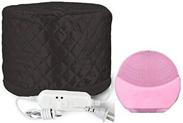 veniqe Black Hair Care Thermal Head Spa Cap Treatment with Beauty Steamer Nourishing Heating Cap, Spa Cap For Hair And e Facial Massage Machine Care & Cleansing Cleanser, facial massager (Multicolor) Surgical Head Cap