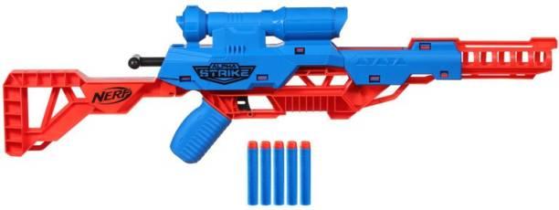 Nerf Alpha Strike Mantis LR-1 Dart Blaster with Targeting Scope, 5 Elite Foam Darts - Easy Load Prime Fire Guns & Darts