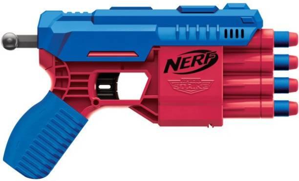 Nerf Alpha Strike Claw QS-4 Blaster and 4 Official Elite Foam Darts -4-Dart Blasting - Easy Load-Prime-Fire Guns & Darts