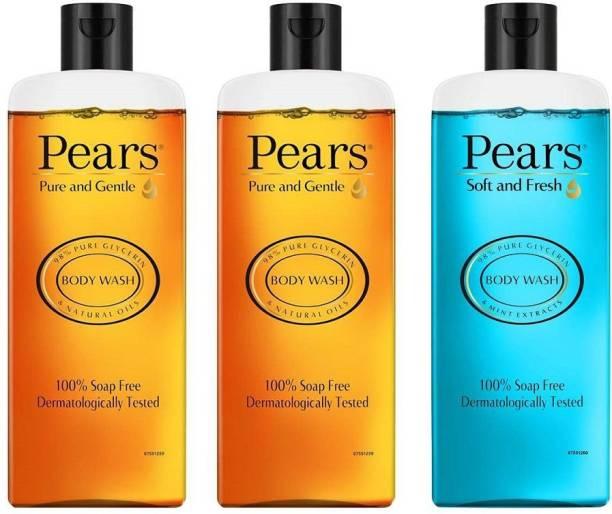 Pears Pure & Gentle Shower Gel 250 ml (Pack of 2) + Soft & Fresh Shower Gel 250 ml